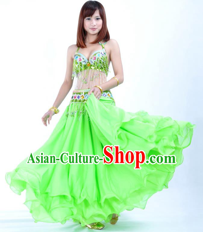 Indian Traditional Oriental Bollywood Dance Green Dress Belly Dance Costume for Women