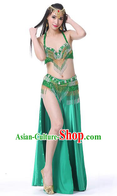 Indian Traditional Oriental Bollywood Dance Green Dress Belly Dance Sexy Costume for Women