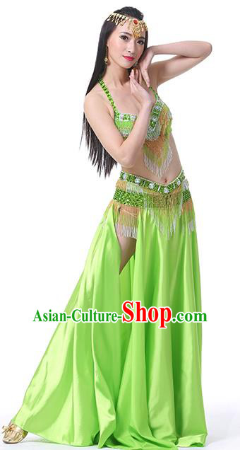 Indian Traditional Oriental Bollywood Dance Light Green Dress Belly Dance Sexy Costume for Women