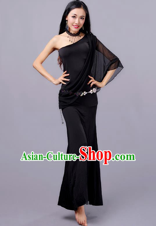 Indian Traditional Oriental Bollywood Dance One-shoulder Black Dress Belly Dance Sexy Costume for Women