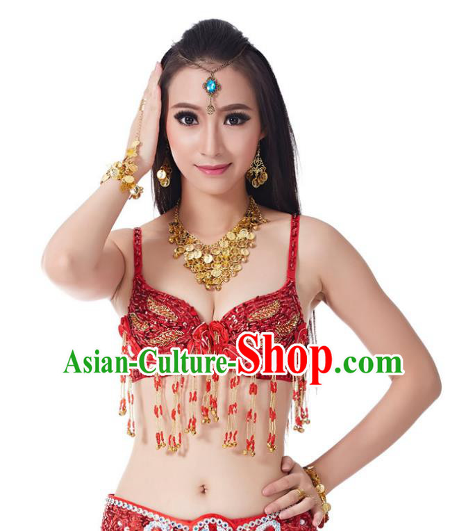 Traditional Belly Dance Bells Red Brassiere Indian Oriental Dance Costume for Women