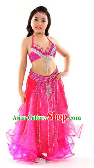 Indian Traditional Stage Performance Dance Rosy Dress Belly Dance Costume for Kids