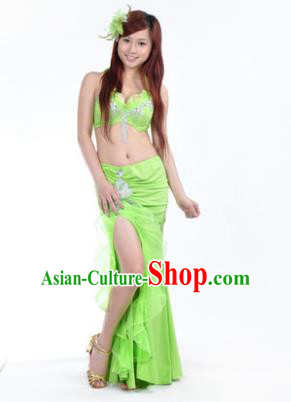 Traditional Indian Stage Oriental Dance Light Green Dress Belly Dance Costume for Women