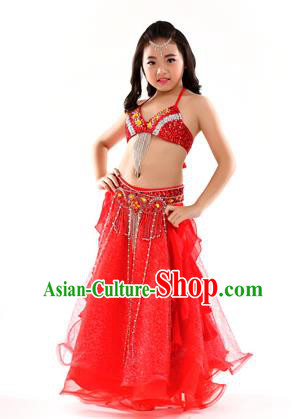 Indian Traditional Stage Performance Dance Red Dress Belly Dance Costume for Kids