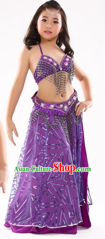 Traditional Indian Children Oriental Dance Purple Dress Belly Dance Costume for Kids