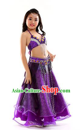 Indian Traditional Stage Performance Dance Purple Dress Belly Dance Costume for Kids