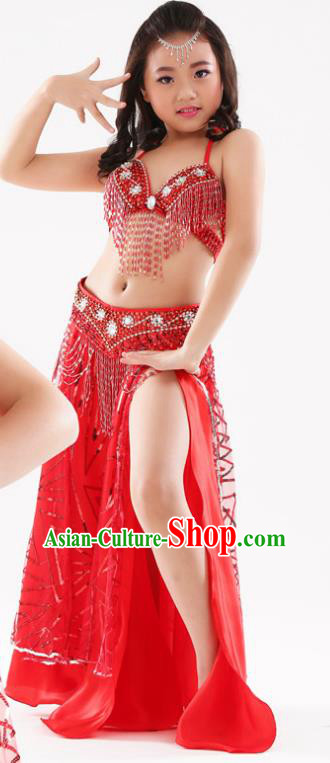 Traditional Indian Children Oriental Dance Red Dress Belly Dance Costume for Kids
