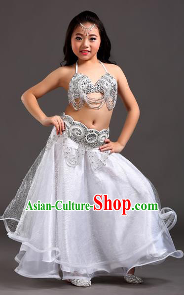 Traditional Indian Children Dance Performance White Dress Belly Dance Costume for Kids