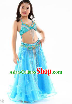 Indian Traditional Stage Performance Dance Blue Dress Belly Dance Costume for Kids