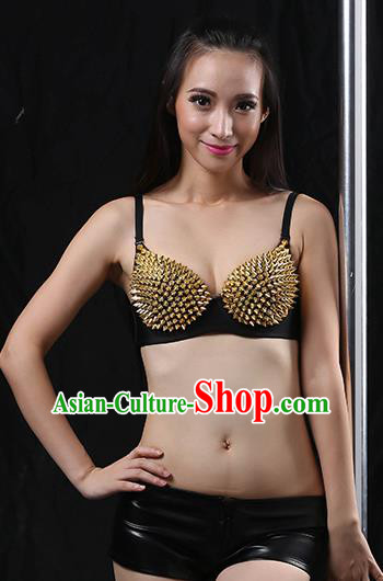 Traditional Indian Belly Dance Golden Rivet Brassiere Oriental Dance Costume for Women