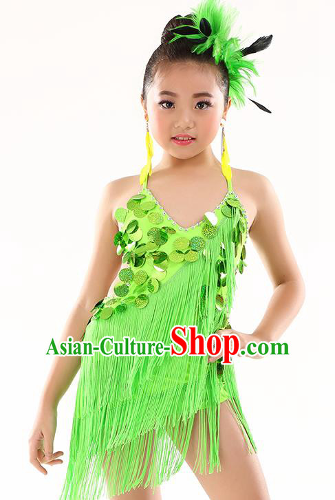 Traditional Children Stage Performance Latin Dance Green Dress Modern Dance Costume for Kids
