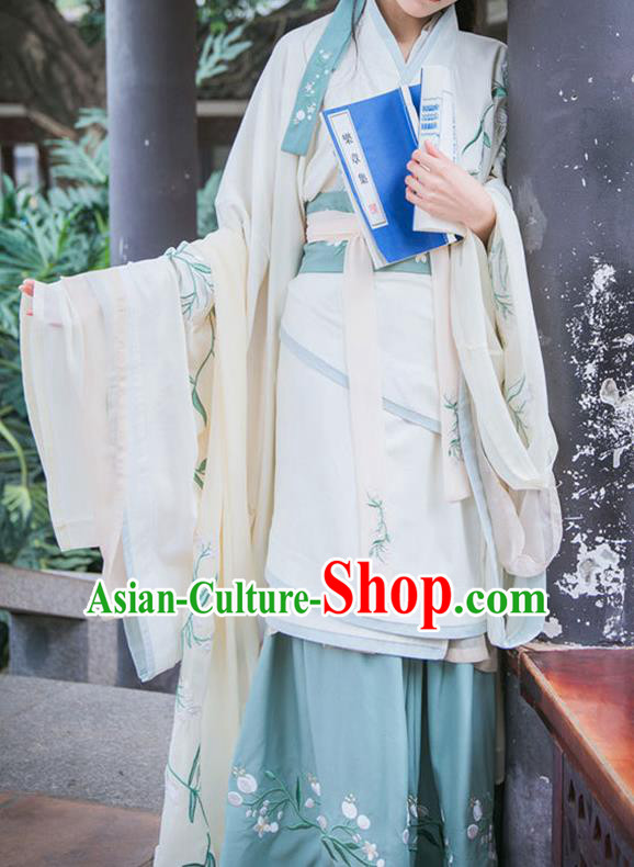 Chinese Ancient Han Dynasty Princess Costumes Embroidered Hanfu Curving-front Robe for Women