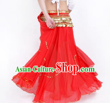 Indian Belly Dance Stage Performance Costume, India Oriental Dance Red Skirt for Women