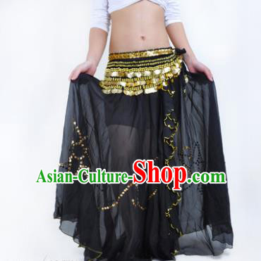 Indian Belly Dance Stage Performance Costume, India Oriental Dance Black Skirt for Women