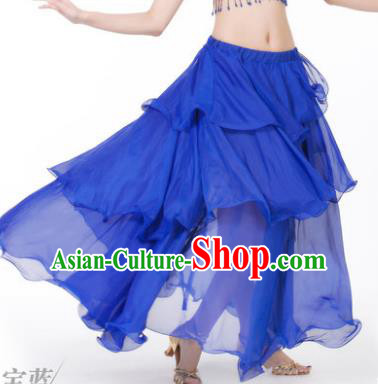 Indian Belly Dance Stage Performance Costume, India Oriental Dance Royalblue Spiral Skirt for Women