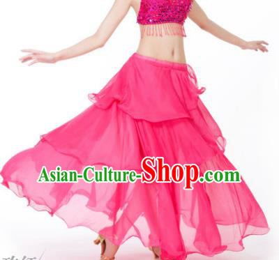 Indian Belly Dance Stage Performance Costume, India Oriental Dance Rosy Spiral Skirt for Women