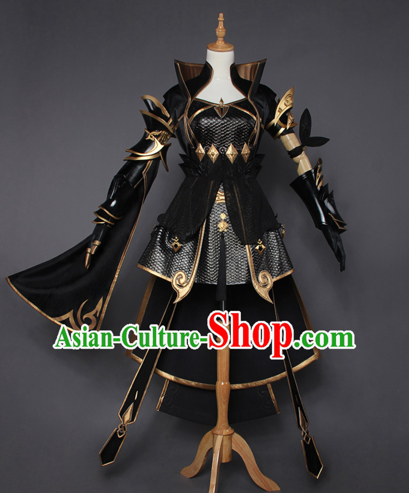Asian Sexy Chinese Style Future Warrior Anime Costumes and Hair Accessories Complete Set