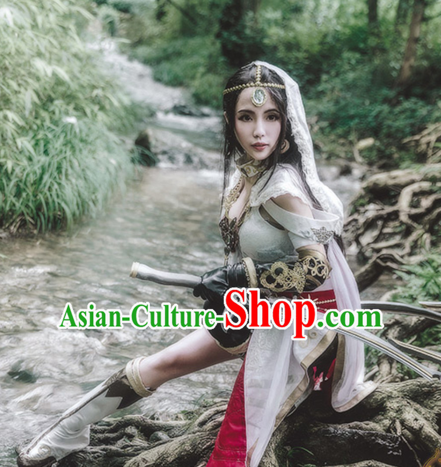 Asian Sexy Style Future Warrior Anime Costumes Superhero Girls Costume and Accessories Complete Set
