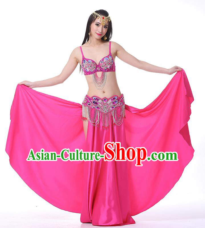 Asian Indian Belly Dance Costume Stage Performance Oriental Dance Rosy Dress for Women