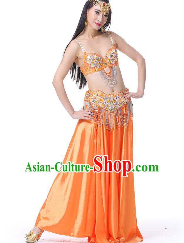 Asian Indian Belly Dance Costume Stage Performance Oriental Dance Orange Dress for Women