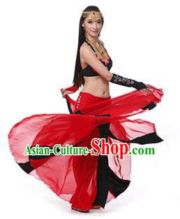Asian Indian Bollywood Belly Dance Costume Stage Performance Oriental Dance Black and Red Dress for Women