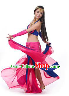Asian Indian Bollywood Belly Dance Costume Stage Performance Oriental Dance Rosy and Blue Dress for Women