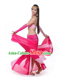 Asian Indian Bollywood Belly Dance Costume Stage Performance Oriental Dance Rosy and Pink Dress for Women