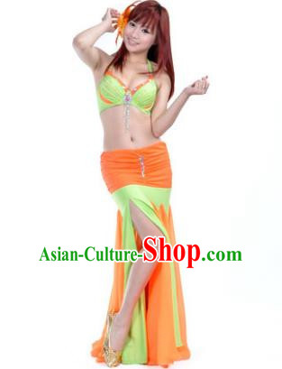 Asian Indian Belly Dance Stage Performance Costume Oriental Dance Orange and Green Dress for Women