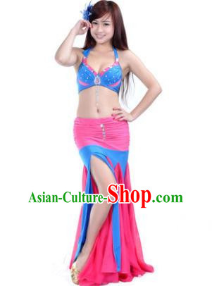 Asian Indian Belly Dance Stage Performance Costume Oriental Dance Rosy and Blue Dress for Women
