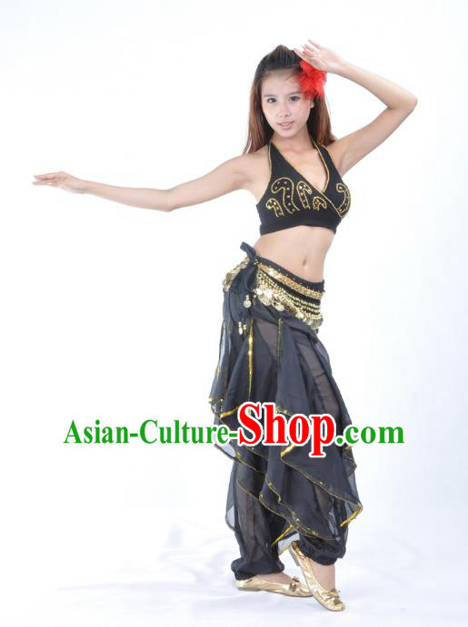 Asian Indian Traditional Black Costume Belly Dance Stage Performance Oriental Dance Clothing for Women