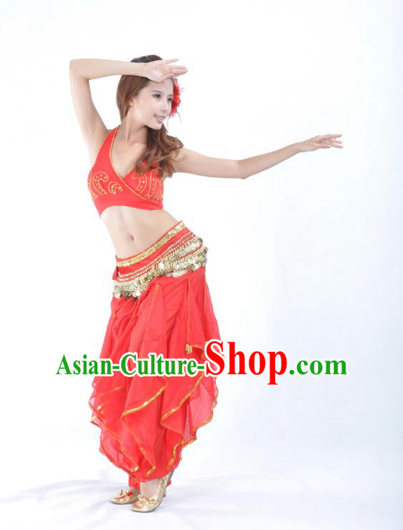 Asian Indian Traditional Costume Belly Dance Stage Performance Oriental Dance Red Clothing for Women