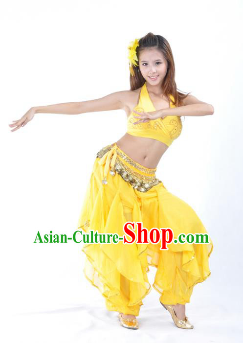 Asian Indian Traditional Costume Belly Dance Stage Performance Oriental Dance Yellow Clothing for Women