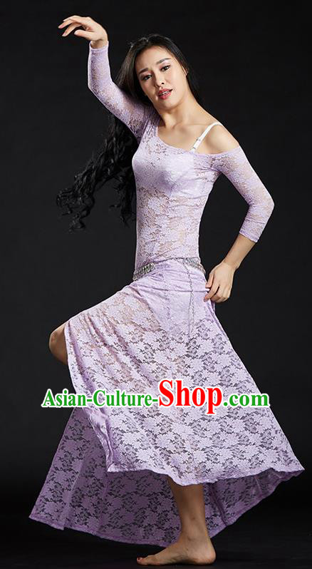 Asian Indian Traditional Costume Belly Dance Stage Performance Lilac Lace Dress for Women