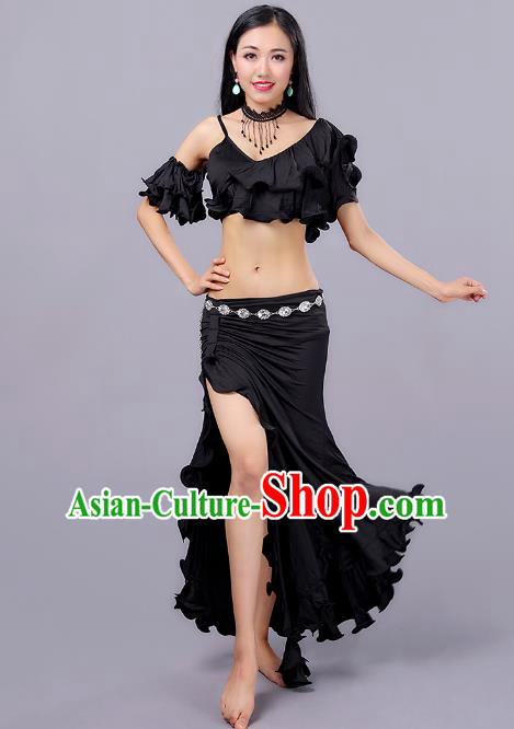 Asian Indian Traditional Oriental Dance Costume Belly Dance Stage Performance Black Dress for Women