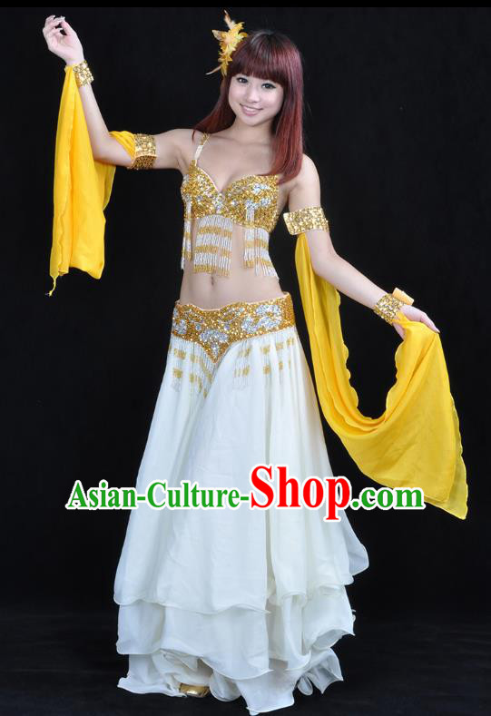 Asian Indian Traditional Oriental Dance White Dress Belly Dance Stage Performance Costume for Women