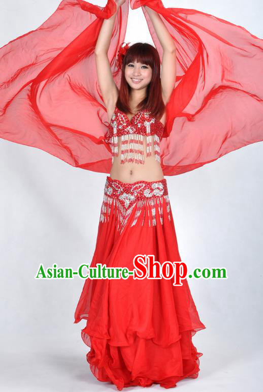 Asian Indian Traditional Oriental Dance Red Dress Belly Dance Stage Performance Costume for Women