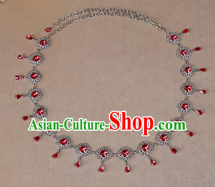 Indian Belly Dance Red Crystal Waist Accessories Stage Performance Oriental Dance Belts Waist Chain for Women