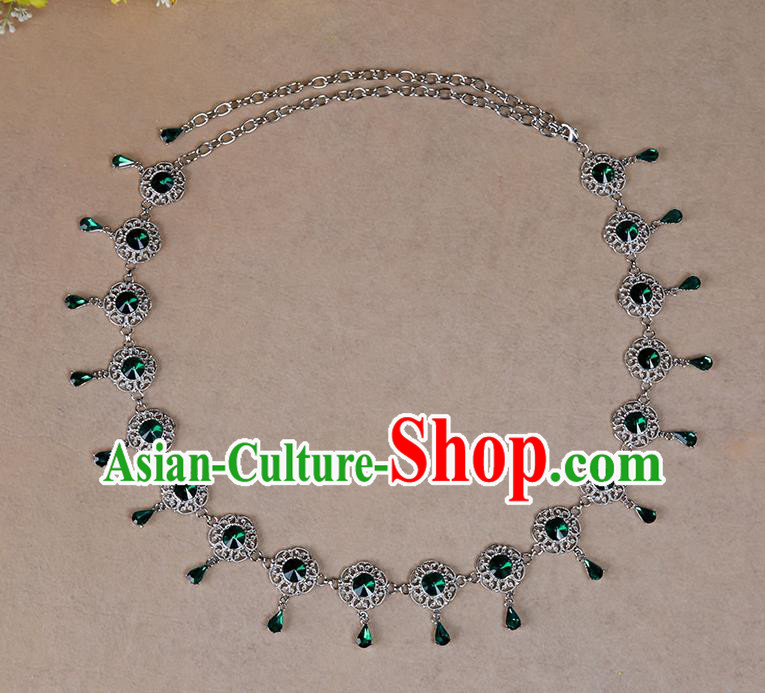Indian Belly Dance Green Crystal Waist Accessories Stage Performance Oriental Dance Belts Waist Chain for Women