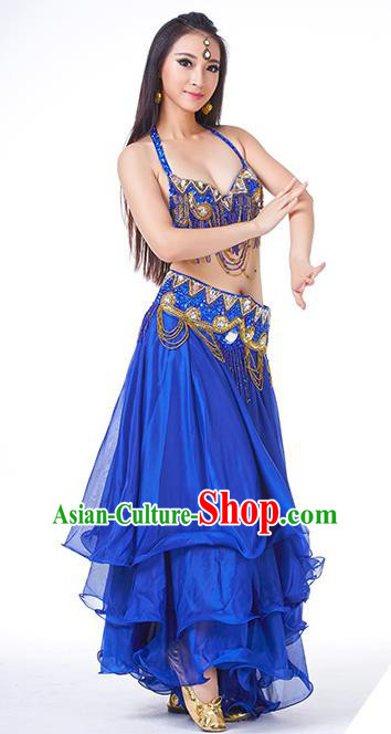 Asian Indian Traditional Costume Oriental Dance Royalblue Dress Belly Dance Stage Performance Clothing for Women