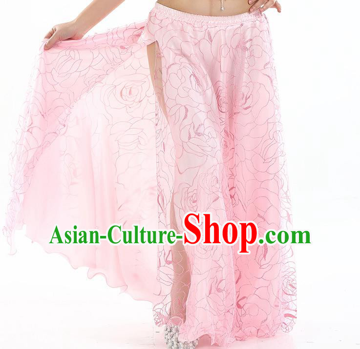Asian Indian Belly Dance Costume Pink Rose Skirt Stage Performance Oriental Dance Dress for Women