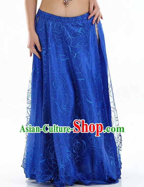 Asian Indian Belly Dance Costume Royalblue Rose Skirt Stage Performance Oriental Dance Dress for Women