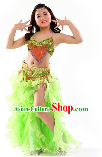 Asian Indian Belly Dance Costume Stage Performance Oriental Dance Light Green Dress for Kids