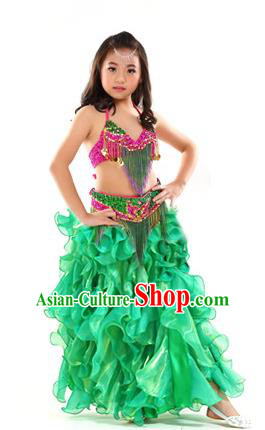 Asian Indian Belly Dance Costume Stage Performance Oriental Dance Green Dress for Kids