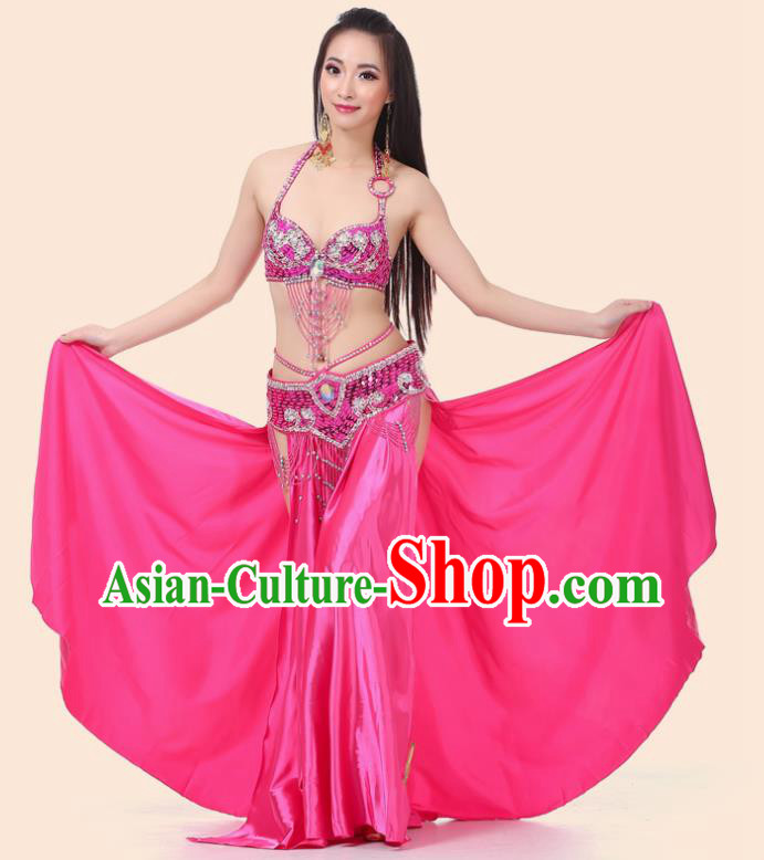 Asian Indian Traditional Costume Oriental Dance Rosy Dress Belly Dance Stage Performance Clothing for Women