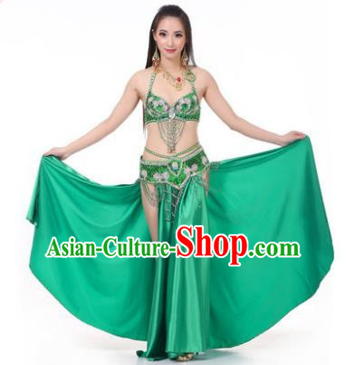 Asian Indian Traditional Costume Oriental Dance Green Dress Belly Dance Stage Performance Clothing for Women