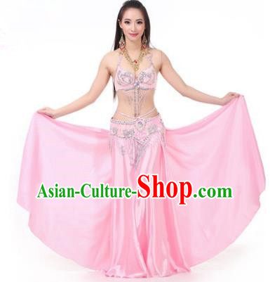 Asian Indian Traditional Costume Oriental Dance Pink Dress Belly Dance Stage Performance Clothing for Women