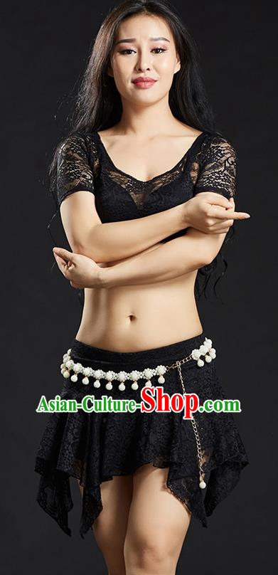 Asian Indian Traditional Black Lace Costume Oriental Dance Belly Dance Stage Performance Clothing for Women