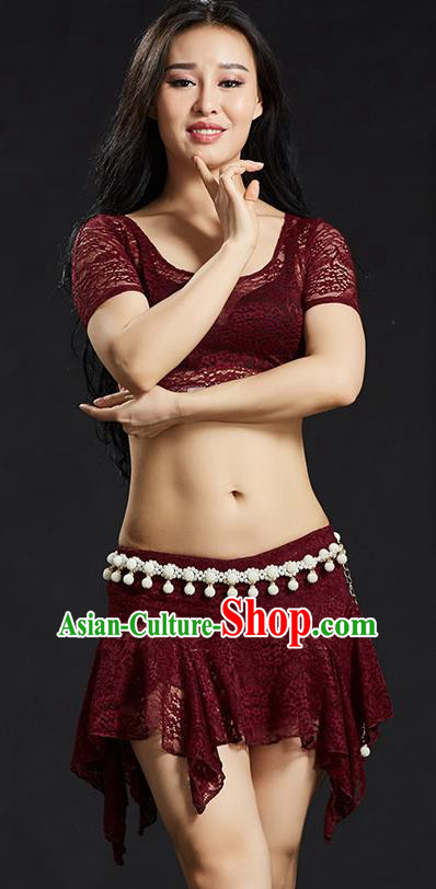Asian Indian Traditional Wine Red Lace Costume Oriental Dance Belly Dance Stage Performance Clothing for Women