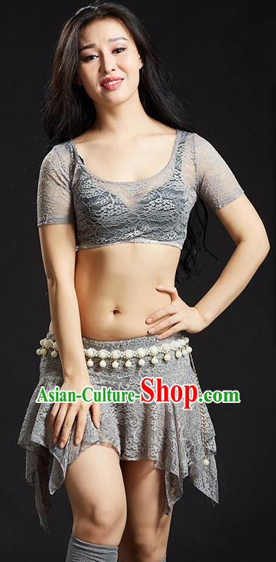 Asian Indian Traditional Grey Lace Costume Oriental Dance Belly Dance Stage Performance Clothing for Women