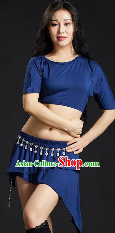 Indian Traditional Yoga Costume Royalblue Uniform Oriental Dance Belly Dance Stage Performance Clothing for Women